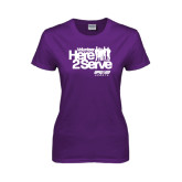 Ladies Purple T Shirt-Here 2 Serve