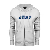 ENZA Ladies White Fleece Full Zip Hoodie-Upward Stars