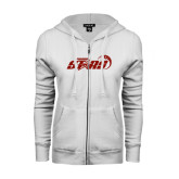 ENZA Ladies White Fleece Full Zip Hoodie-Upward Stars Basketball
