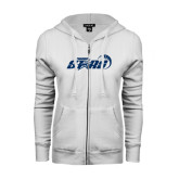 ENZA Ladies White Fleece Full Zip Hoodie-Upward Stars Basketball