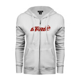 ENZA Ladies White Fleece Full Zip Hoodie-Upward Stars Volleyball