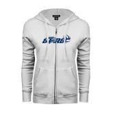 ENZA Ladies White Fleece Full Zip Hoodie-Upward Stars Volleyball