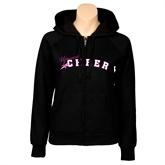 ENZA Ladies Black Fleece Full Zip Hoodie-Cheer