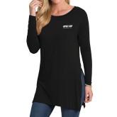 Ladies Black Side Slit Tunic-Upward Sports