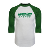 White/Dark Green Raglan Baseball T-Shirt-Upward Sports