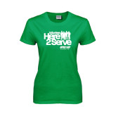 Ladies Kelly Green T Shirt-Here 2 Serve