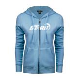 ENZA Ladies Light Blue Fleece Full Zip Hoodie-Upward Stars Basketball