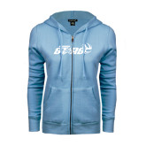ENZA Ladies Light Blue Fleece Full Zip Hoodie-Upward Stars Volleyball