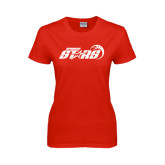 Ladies Red T Shirt-Upward Stars Basketball