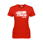 Ladies Red T Shirt-Here 2 Serve