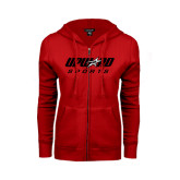 Ladies Red Fleece Full Zip Hoodie-Upward Sports
