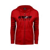 Ladies Red Fleece Full Zip Hoodie-Upward Sports