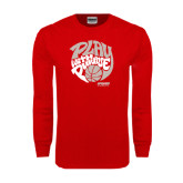 Red Long Sleeve T Shirt-Upward Sports Play With Purpose Basketball