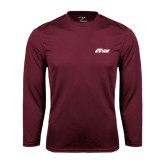 Performance Maroon Longsleeve Shirt-Upward Stars