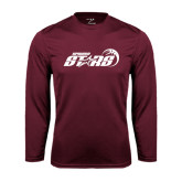 Performance Maroon Longsleeve Shirt-Upward Stars Basketball