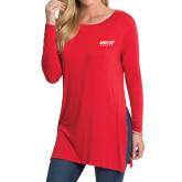 Ladies Red Side Slit Tunic-Upward Sports