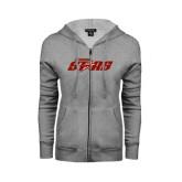 Ladies Grey Fleece Full Zip Hoodie-Upward Stars