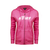 ENZA Ladies Fuchsia Fleece Full Zip Hoodie-Upward Stars