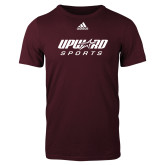 Adidas Maroon Logo T Shirt-Upward Sports