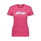 Ladies Fuchsia T Shirt-Upward Stars