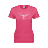Ladies Fuchsia T Shirt-Upward Stars Play With Purpose Volleyball