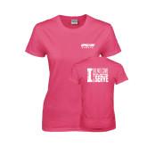 Ladies Fuchsia T Shirt-Upward Sports