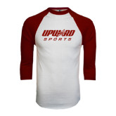 White/Maroon Raglan Baseball T Shirt-Upward Sports