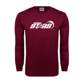 Maroon Long Sleeve T Shirt-Upward Stars Basketball