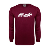 Maroon Long Sleeve T Shirt-Upward Stars Volleyball