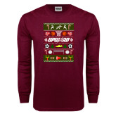 Maroon Long Sleeve T Shirt-Upward Christmas Shirt