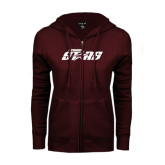 ENZA Ladies Maroon Fleece Full Zip Hoodie-Upward Stars