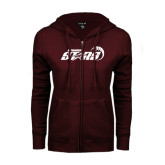 ENZA Ladies Maroon Fleece Full Zip Hoodie-Upward Stars Basketball