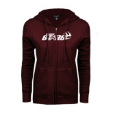 ENZA Ladies Maroon Fleece Full Zip Hoodie-Upward Stars Volleyball