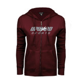 ENZA Ladies Maroon Fleece Full Zip Hoodie-Upward Sports