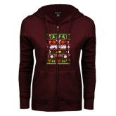 ENZA Ladies Maroon Fleece Full Zip Hoodie-Upward Christmas Shirt