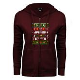 ENZA Ladies Maroon Fleece Full Zip Hoodie-Upward Christmas Shirt