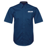 Navy Twill Button Down Short Sleeve-Upward Sports