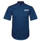 Navy Twill Button Down Short Sleeve-Upward Sports