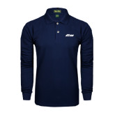 Navy Long Sleeve Polo-Upward Stars