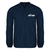 V Neck Navy Raglan Windshirt-Upward Stars