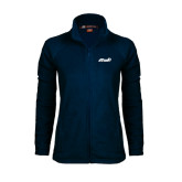 Ladies Fleece Full Zip Navy Jacket-Upward Stars Volleyball