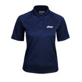 Ladies Navy Textured Saddle Shoulder Polo-Upward Stars