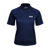 Ladies Navy Textured Saddle Shoulder Polo-Upward Sports