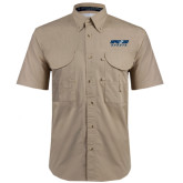 Khaki Short Sleeve Performance Fishing Shirt-Upward Sports