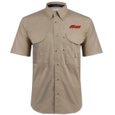 Khaki Short Sleeve Performance Fishing Shirt-Upward Stars