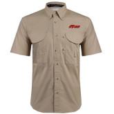 Khaki Short Sleeve Performance Fishing Shirt-Upward Stars