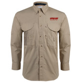 Khaki Long Sleeve Performance Fishing Shirt-Upward Sports