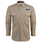Khaki Long Sleeve Performance Fishing Shirt-Upward Stars