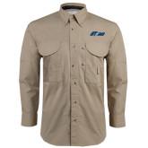Khaki Long Sleeve Performance Fishing Shirt-Upward Stars