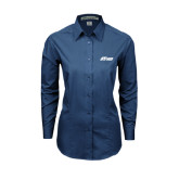 Ladies Deep Blue Tonal Pattern Long Sleeve Shirt-Upward Stars